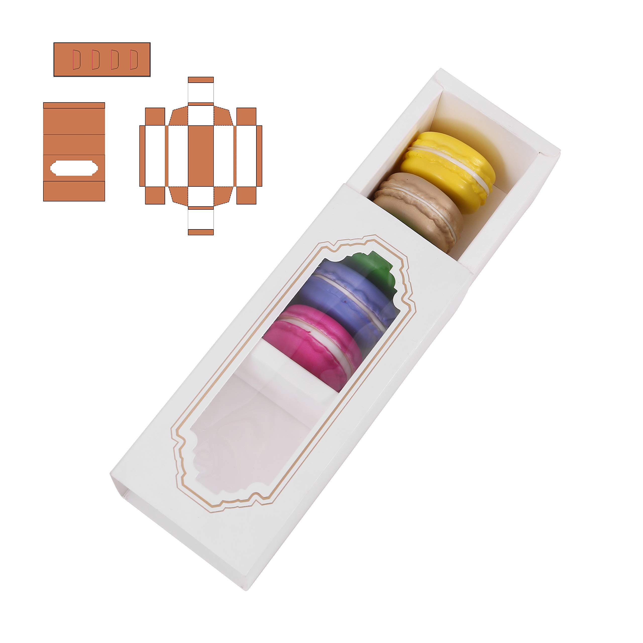 MCART Macaron Boxes for 5 to 6 [20 Pack] Macarons Packaging Boxes