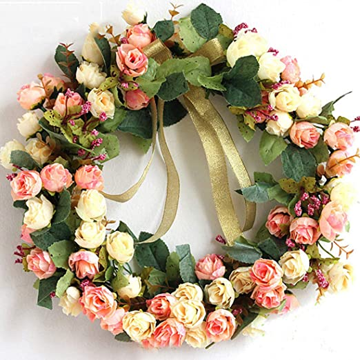 Candle Wreaths-Wreaths of flowers-Art Roses with natural materials