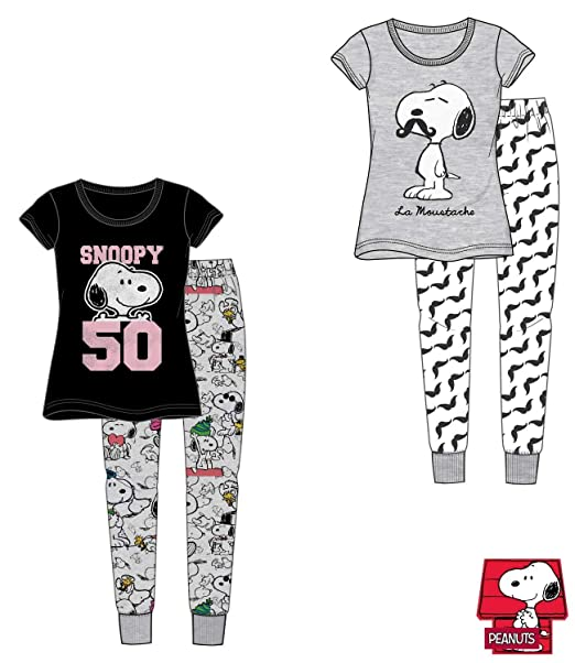 Mujer Snoopy Peanuts Manga Corta Larga Conjunto Pijama - Gris, Small