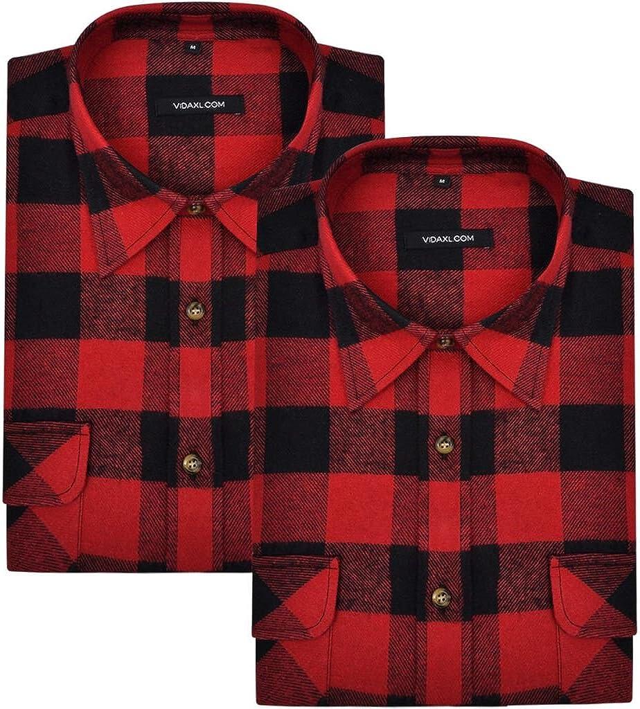 vidaXL 2 Camisas de Trabajo de Franela tartán a Cuadros Rojo-Negro para Hombre Talla XL: Amazon.es: Ropa y accesorios