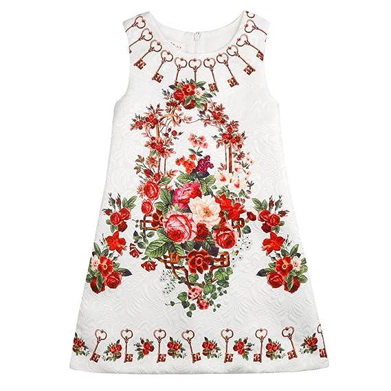 Sanlutoz Vestidos de niñas vestidos sin mangas vintage impreso princesa vestido floral (3-4