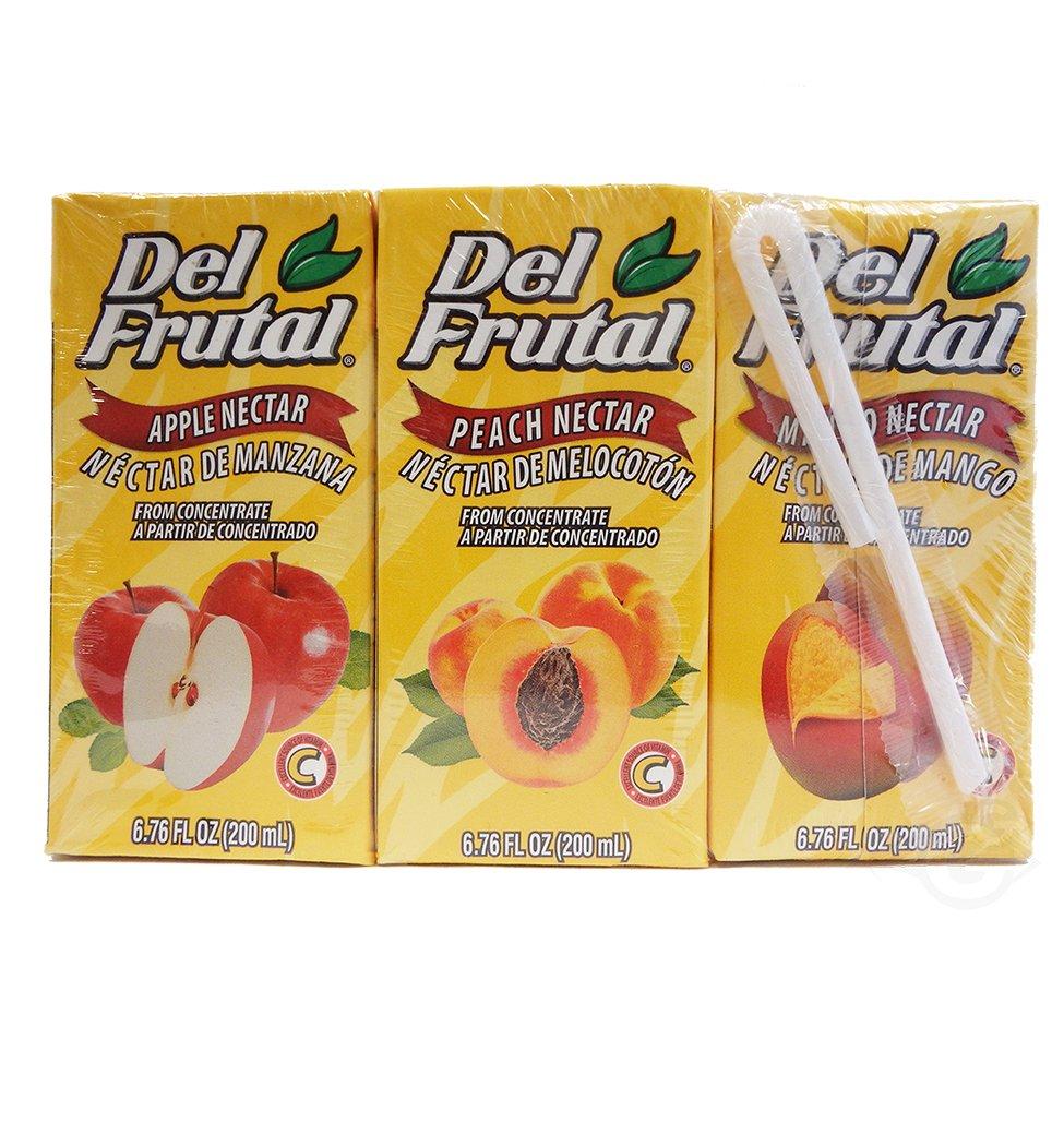 Del Frutal Mix (Apple, Peach, Mango) Nectar 6.76 oz - Sabor Manzana, Melocoton, Mango
