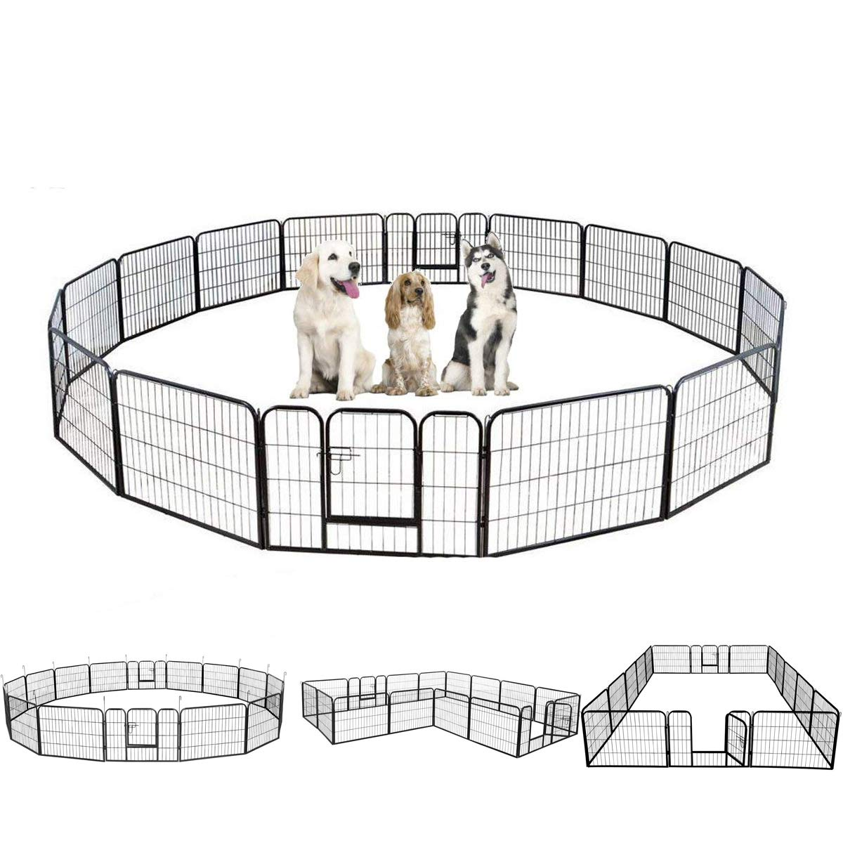 Belovedkai Dog Puppy Playpen, Crate Fence Pet Kennel 16 Panel Exercise Cage Wire Enclosure for Indoor Outdoor