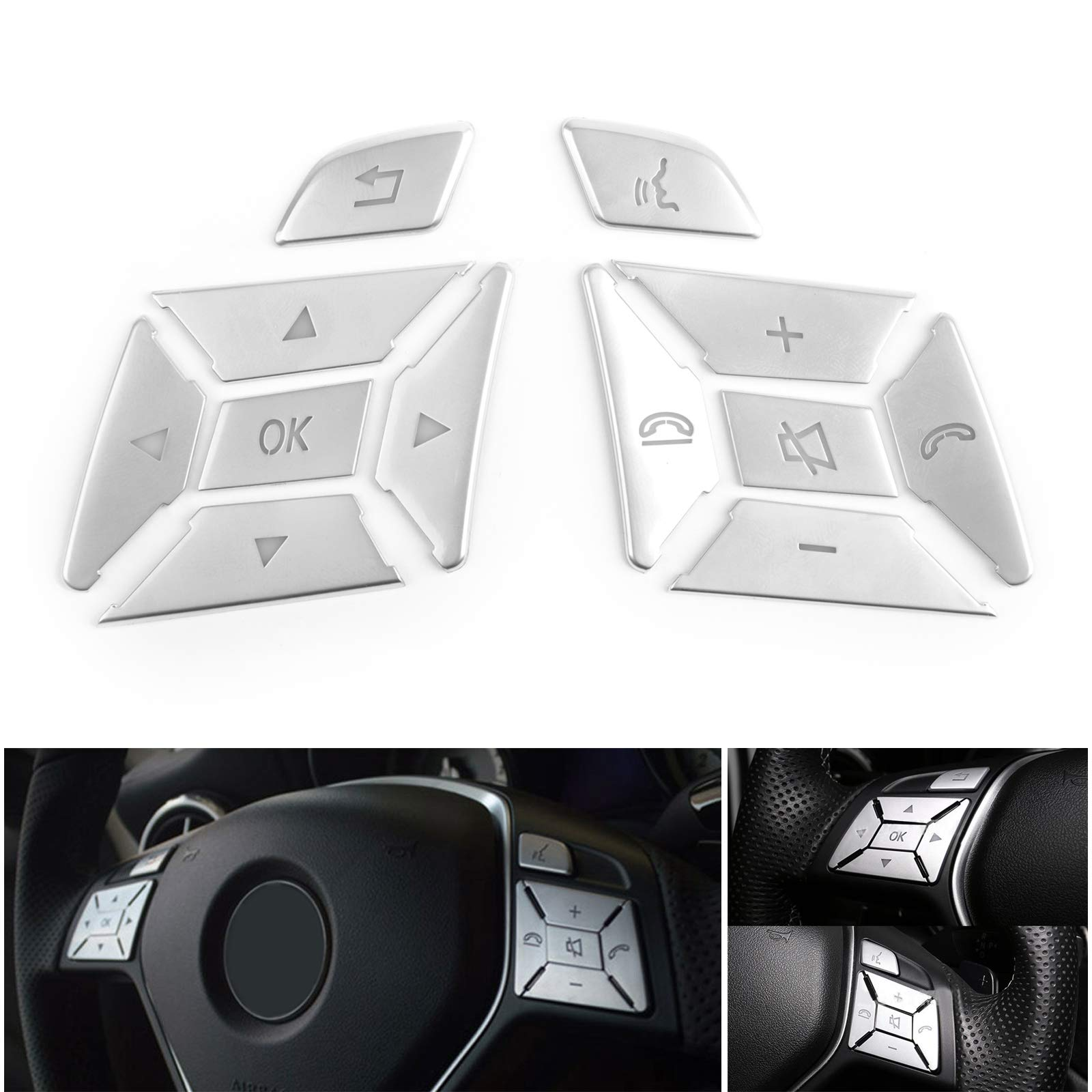 Areyourshop Steering Wheel Button Silver Trim for E C G Class W204 2012-2016 by Areyourshop