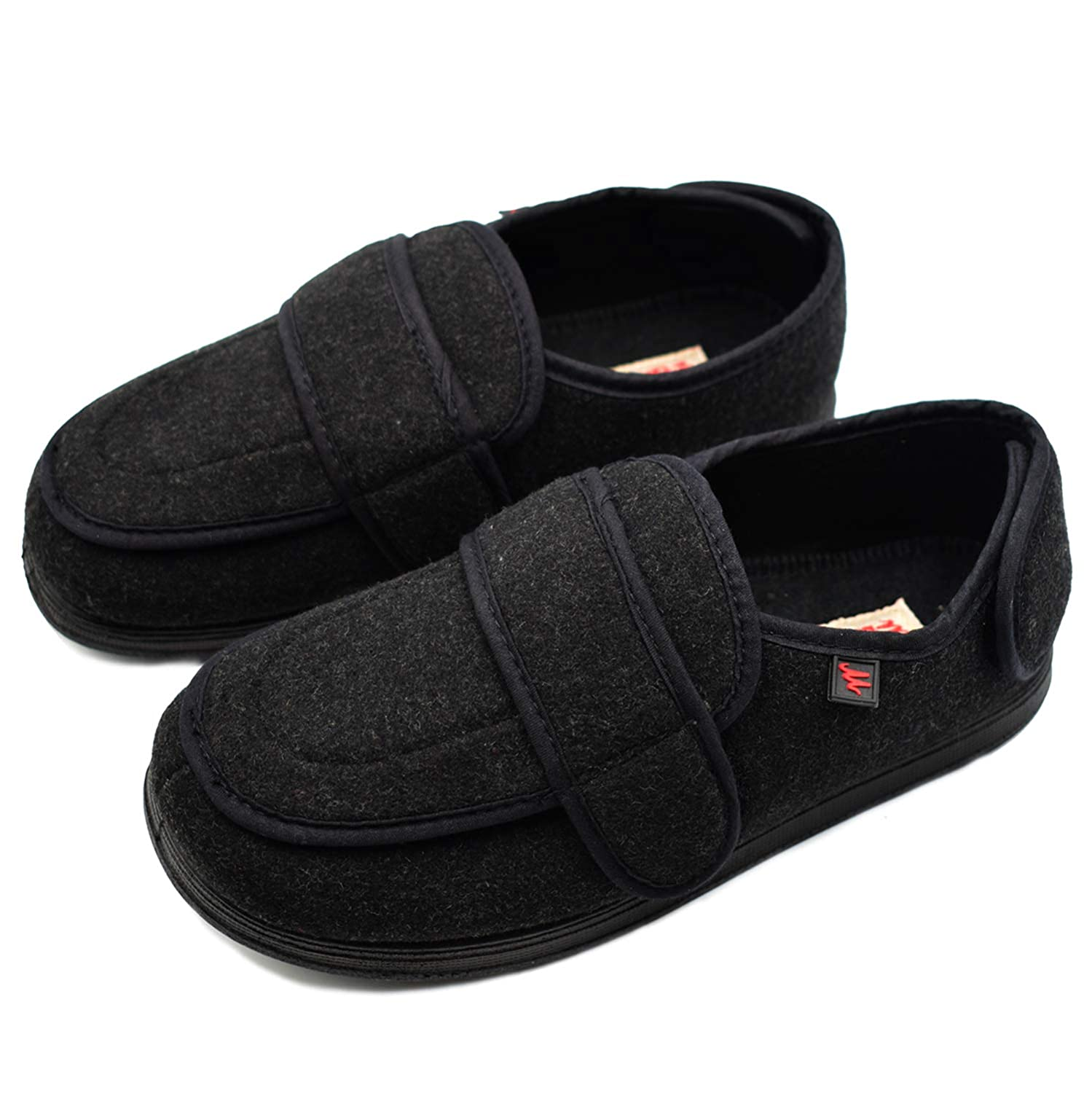 6073552d94e07 W&Lesvago Women's Extra Wide Width Adjustable Diabetic Slippers -  Comfortable Outdoor Shoes