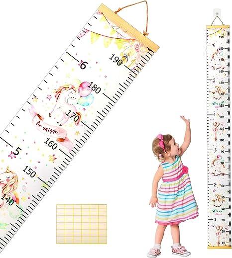 decoraci/ón de pared para dormitorio infantil con 1 gancho A tabla de crecimiento para ni/ños tabla de crecimiento de pared Gr/áfico de altura para ni/ños