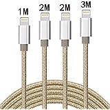 ライトニングケーブル Aonsen 4本セット 1M 2M 2M 3M 充電ケーブルナイロン編み 8pin iPhone 7/SE/5/5s/6/6s/6 Plus,iPad Air/Mini,iPod,完全対応iOS10(シルバー &ゴールド)