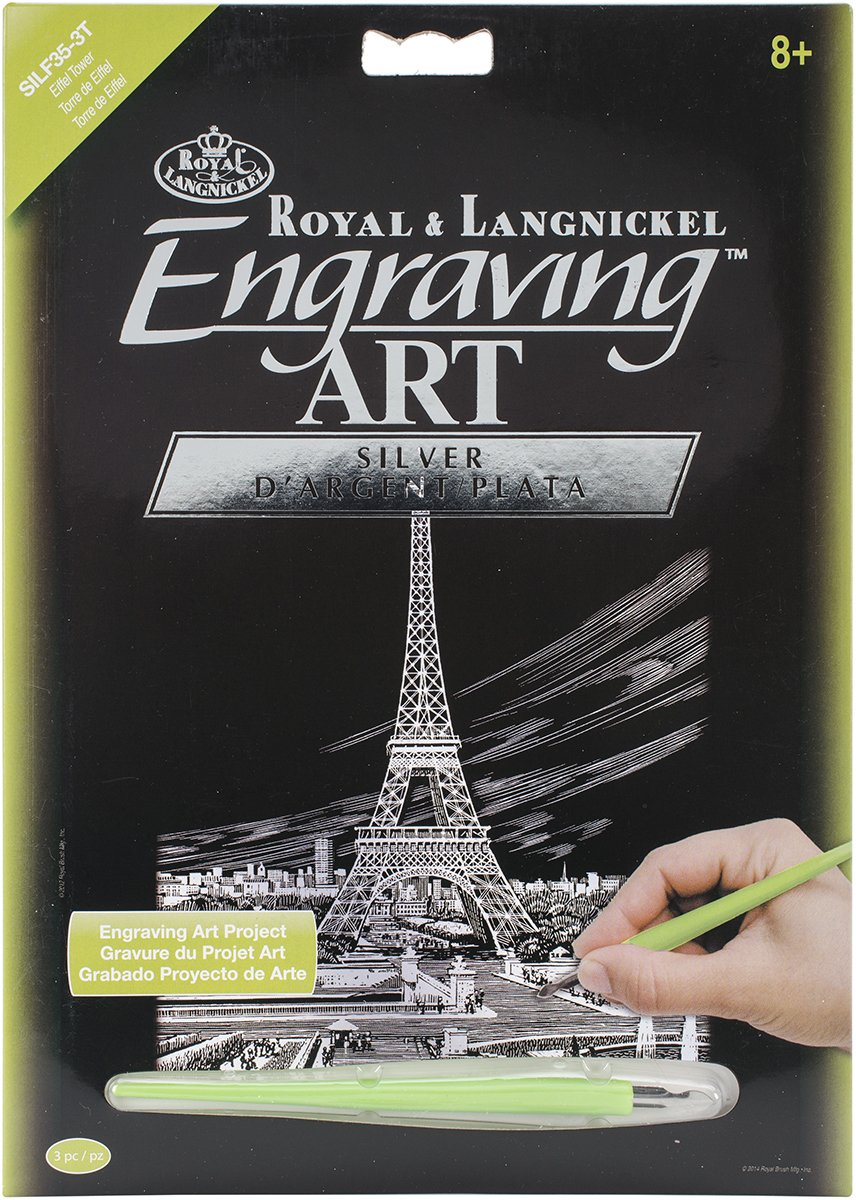 8-Inch by 10-Inch Eiffel Tower Royal Brush Silver Foil Engraving Art Kit