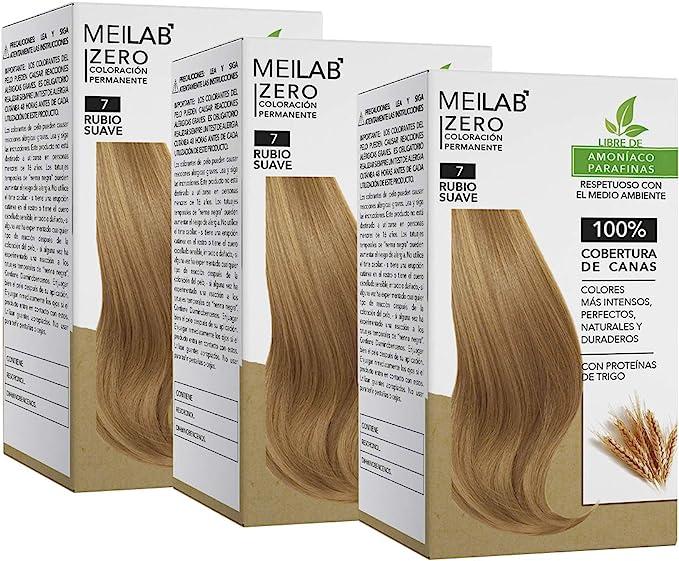 MEILAB - Tinte permanente sin amoniaco - Pack de 3 unidades - Color Rubio medio #7