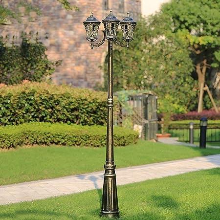 BTBAM 3 Luces Exterior Poste Alto Poste Europeo Retro Villa jardín Patio Aluminio IP54 Impermeable bolardo Columna luz decoración Parques Comunidad Pasillo Pilar Linterna (tamaño : 2.5m): Amazon.es: Hogar