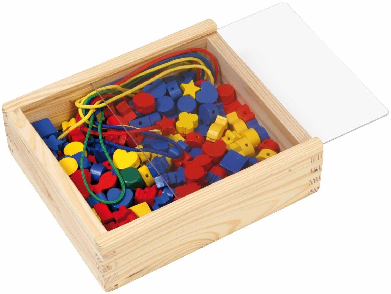 SIMM Spielwaren Lena 32020 - Bastelset Holzperlen in Holzkiste, 164-Teile