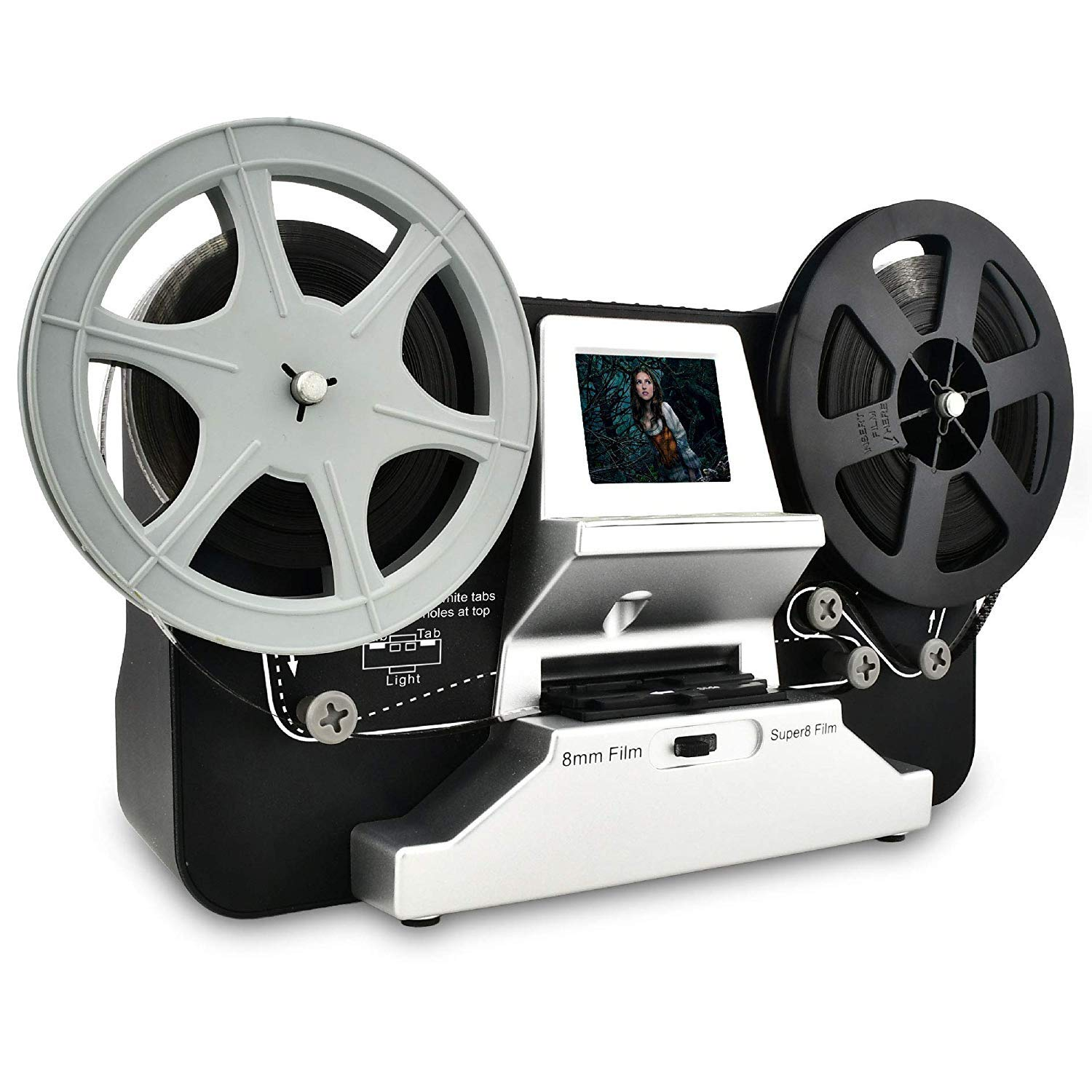 8mm & Super 8 Reels to Digital MovieMaker Film Sanner,Pro Film Digitizer Machine with 2.4'' LCD, Black (Film 2 Digital Movie Maker&8mm Film Scanner) with 32 GB SD Card