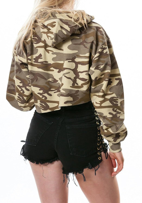 Donne Corto Felpe con Cappuccio Maglie a Manica Lunga Cime Maglione Sweatshirt T-Shirt Bluse Moda Militari Crop Tops Maglietta Pullover
