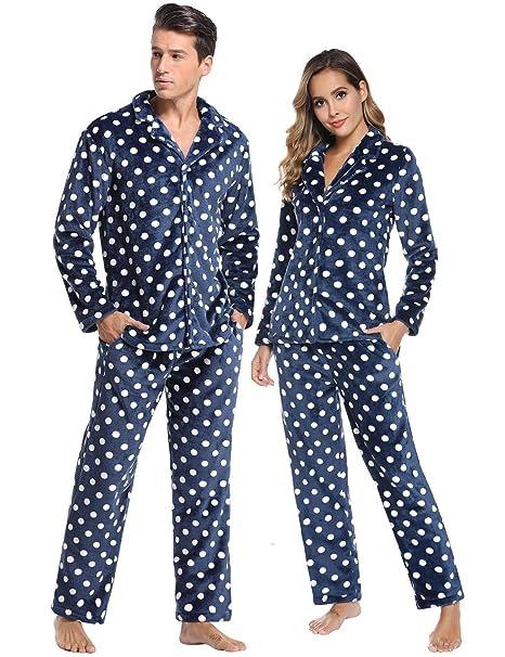 Abollria Pijamas Traje De Invierno Franela para Hombre Mujer Servicio A Domicilio Manga Larga 2 Piezas Conjunto De Pijama para Hombre Mujer,Ropa De ...