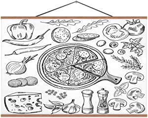 Hoveniacis Illustrations of Classical Italian Cuisine.Pizza and Different Ingredients.Fast Food Pictures Set Italy,Wall Art Poster Pizza for Decoration 24x12in