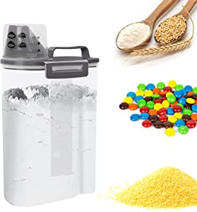 YNSKT Rice Container Storage - Airtight Dry Food Flour Cereal Container Storage BPA Free Plastic Small Rice Dispenser with Measuring Cup Pour Spout for Rice Cereal Beans Flour Sugar - 5LB Grey