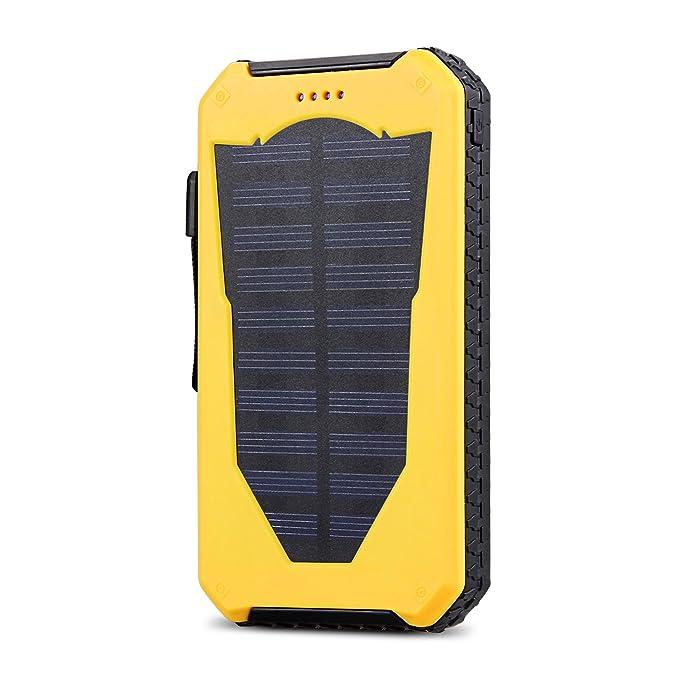 CYSPSZ - Cargador solar de móvil para uso exterior, resistente a los golpes, a prueba de polvo , batería de 15000 mAh, con USB dual portátil, diseño ...