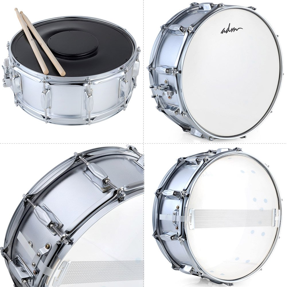 ADM Student Snare Drum Set with Case, Sticks, Stand and Practice Pad Kit, Shiny Silver by ADM (Image #7)