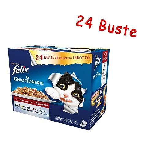 Felix Le ghiottonerie de gelatina Multipack 24 bolsas de 100 gr húmedo para gato