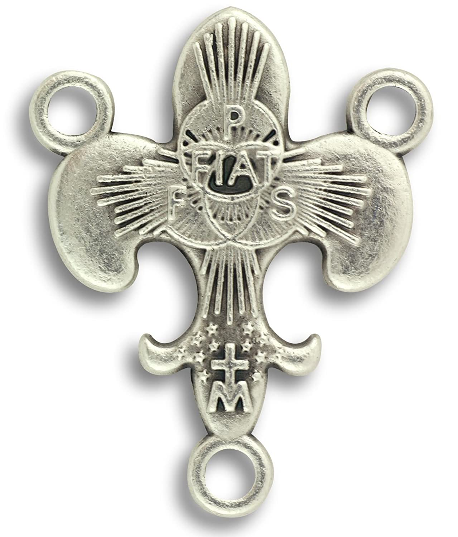 amazon com lot of 3 rosary centerpiece fleur de lis fiat center