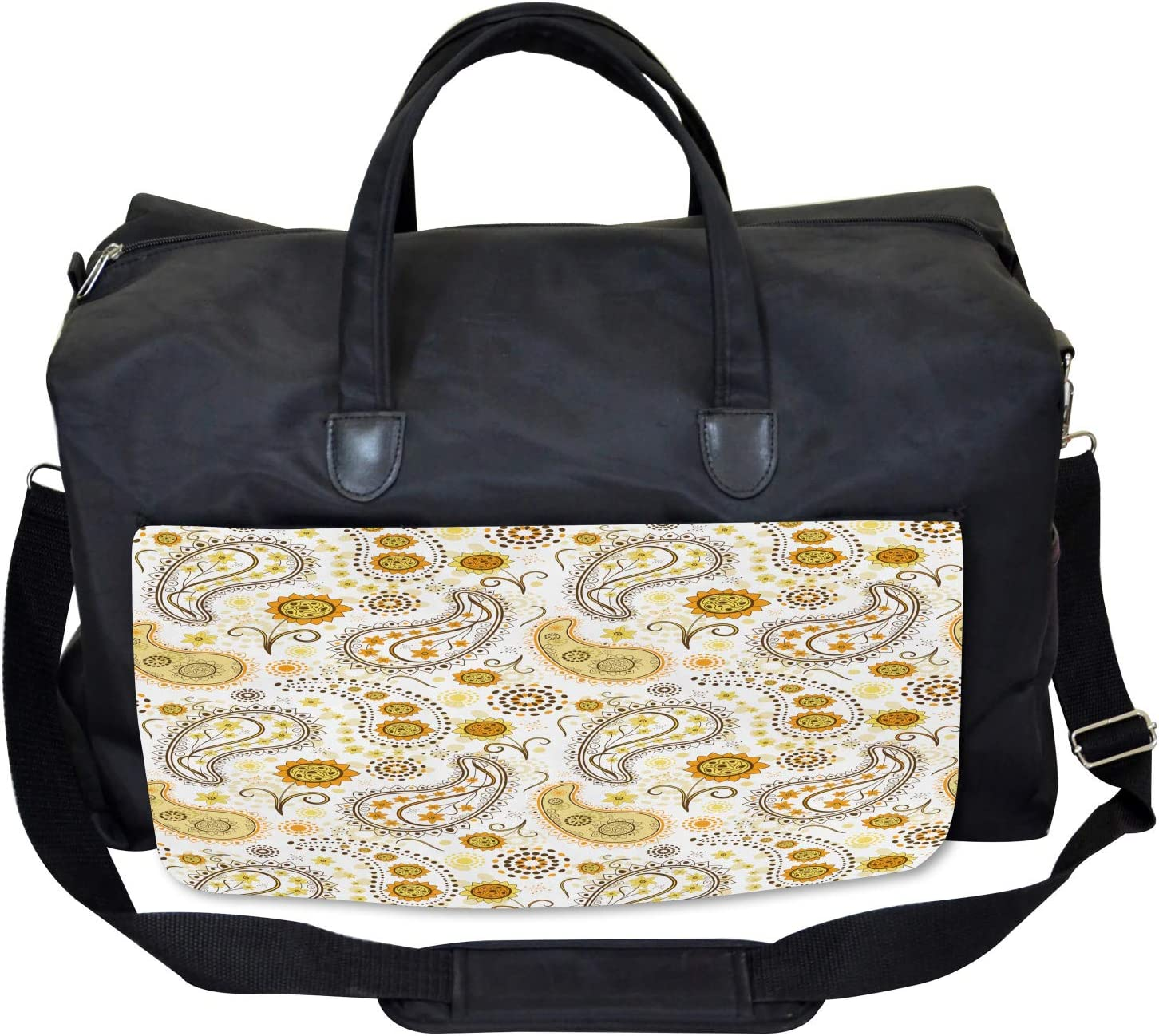 Large Weekender Carry-on Ethnic Tribal Floral Ambesonne Paisley Gym Bag