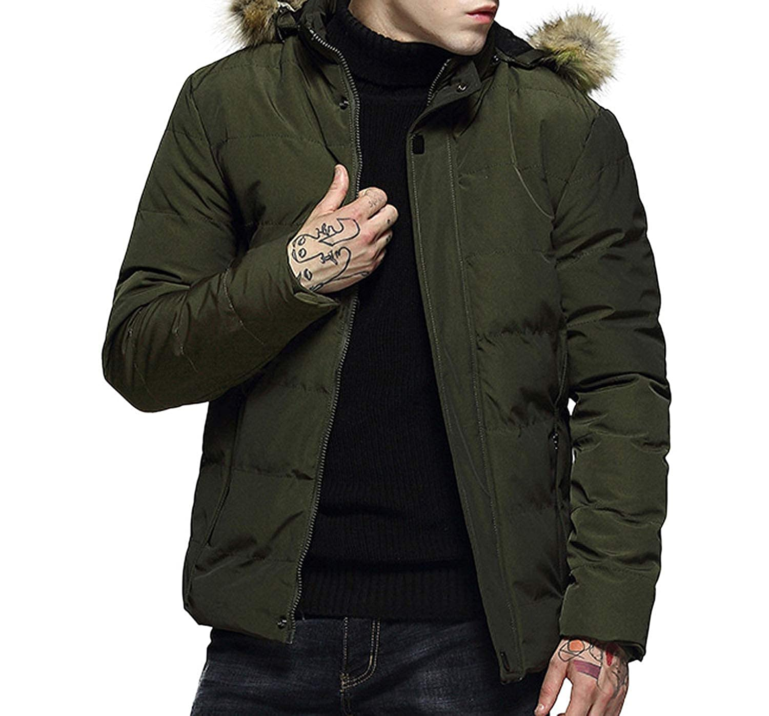Mens Winter Fashion Hoodie Pure Color Thickened Padded et ...