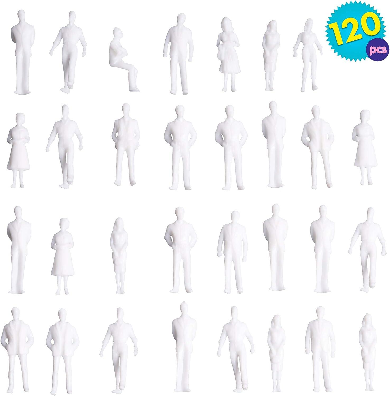 Th/èmes de No/ël Figurines a Peindre THE TWIDDLERS 120PCS Blanc Mod/èle Former des Personnes Non-peintes Plastique D/écor Mod/èle Jouet Debout Posture Passager de Park
