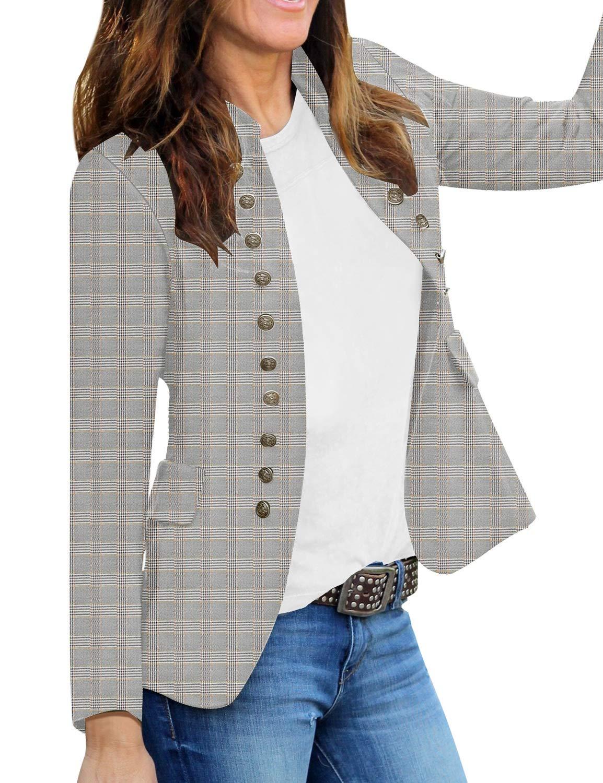 GRAPENT Women's Plaid Business Casual Buttons Pockets Open Front Blazer Suit Cardigan Outerwear Medium (Fits US 8-US 10) by GRAPENT
