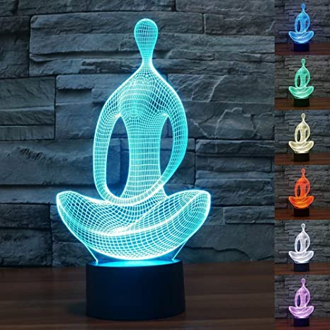 Safrone 3D Yoga Optical Illusion Led Night Desk Lamp 7 Colors Changing with USB Cable Halloween Gift for Kid (Yoga)