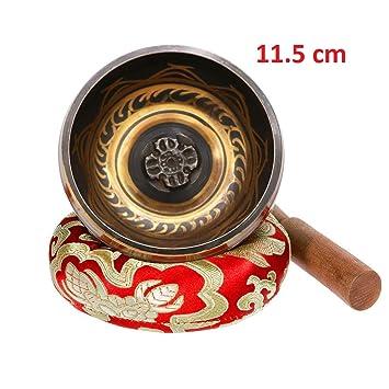 Exqline Cuenco Tibetano Hecho a Mano 11.5cm con Cojín Cosido,Cuencos Tibetanos para Meditación,La Atención Plena,Sanación del Chakra,Alivio del Estrés ...