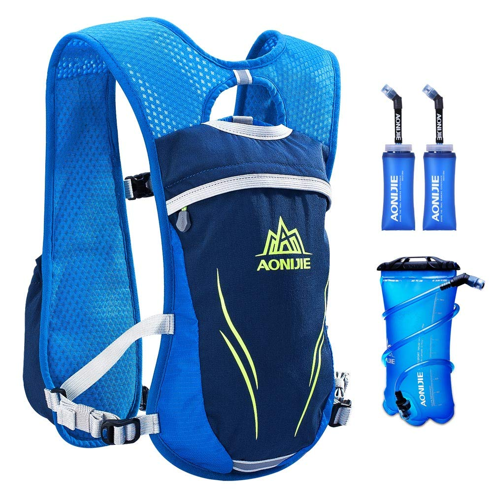 AONIJIE Running Hydration Vest for Hiking Cycling Hydration Backpack for Women and Men Lightweight Trail Running Backpack 5.5L (blue-2L-350ml) by AONIJIE (Image #1)