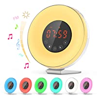 Dr.meter Natural Light Alarm Clock with 7-Color Night Light