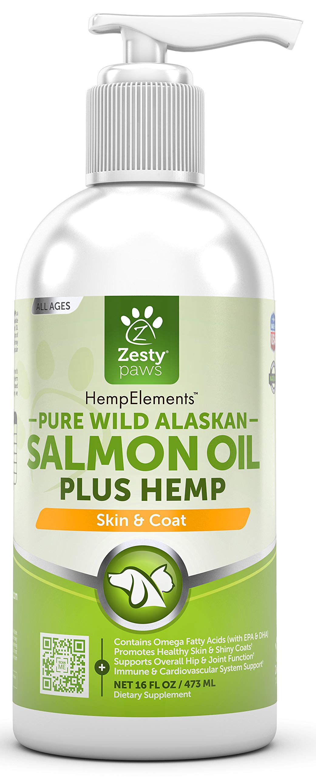 Pure Wild Alaskan Salmon Oil with Hemp for Dogs & Cats - Omega 3 & 6 Fish Oil Pet Supplement with EPA & DHA - Anti Itching Skin & Coat Care + Hip & Joint Health - Heart & Immune Support - 16 FL OZ by Zesty Paws