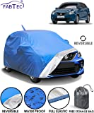 Fabtec Water Resistant Reversible Car Body Cover for Maruti Baleno (2015-2019) with Mirror & Antenna Pocket & Storage Bag (Full Sized, Triple Stitched, Fully Elastic) (Blue & Silver)