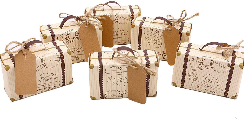 Cajas de regalo Set de 50Vintage Mini maleta caja de Candy CAJA DE decoración con de arpillera para boda fiesta cumpleaños Baby Shower