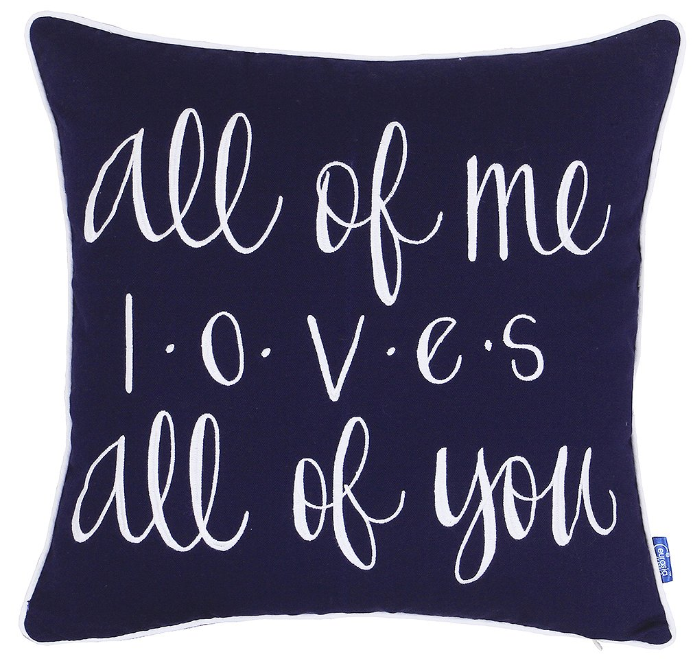 ADecor Pillow Covers All of me Loves All of You Pillowcase Embroidered Pillow cover Decorative Pillow Standard Cushion Cover Gift Love Couple Wedding (18X18, Navy) by ADecor