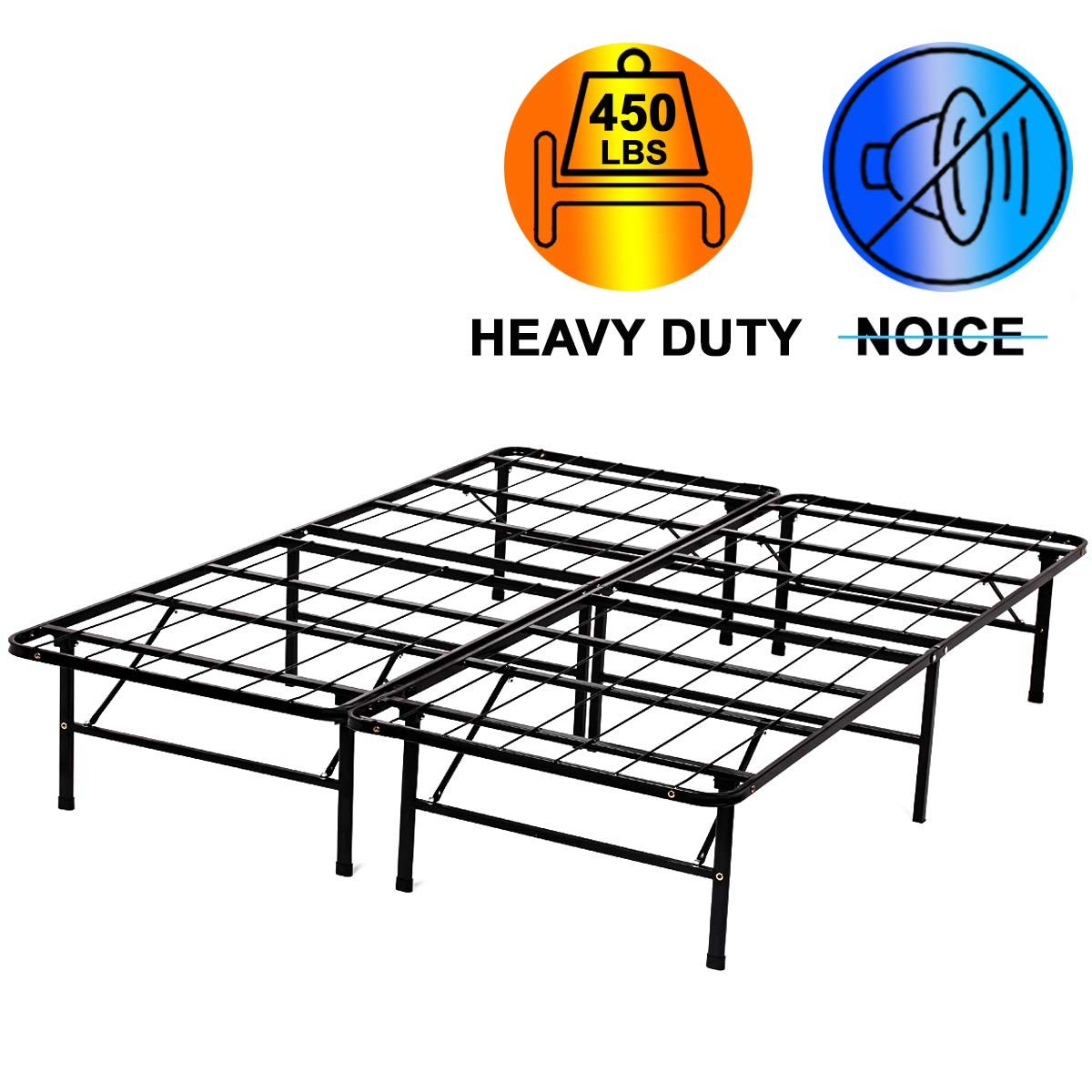Queen Bed Frame Queen Size 14 Inch Mattress Foundation Box Spring Replacement Heavy Duty Steel Slat Noise-Free Easy Assembly,Black