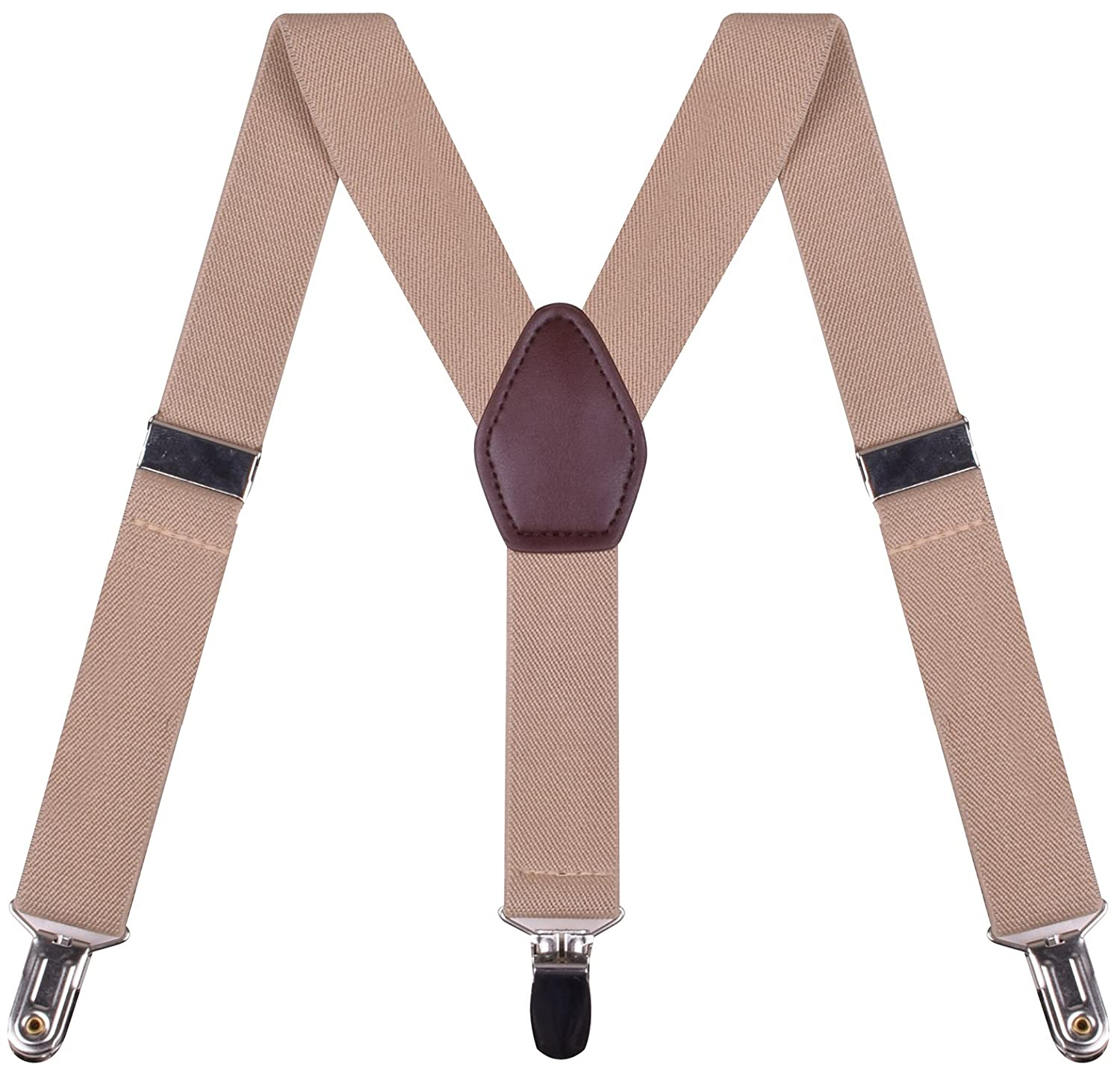 BODY STRENTH Mens Boys Suspenders Elastic Adjustable Clip On Y Back
