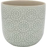 "Amazon Brand – Stone & Beam Small Floral-Embossed Planter, 4.3""H, Seafoam Green"
