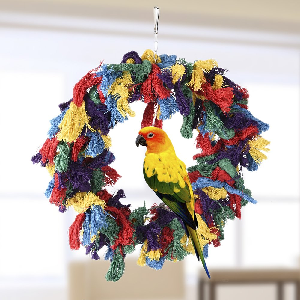 Pet Bird Cotton Ring Play Exercise Chew Cotton Snuggle Ring Bird Toy