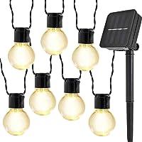 10LED Zonne Bollampen Lichtslingers,KINGCOO Waterdichte 2M LED Gloeilamp Zonne-energie Fee Lichtsnoeren voor Buiten…