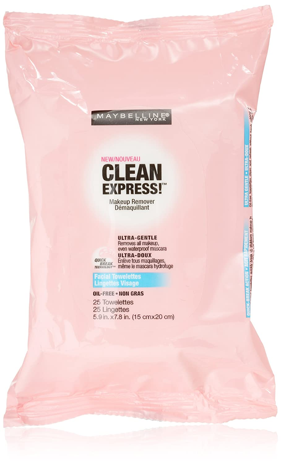 Maybelline New York Clean Express Makeup Remover Facial Towelettes, 25 Count Pack of 3