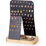 Alsonerbay Earring Organizer Metal Jewelry Display Stand, Ear Stud Holder Rack, Jewelry Tree with Wood Tray (64 Holes), Natur