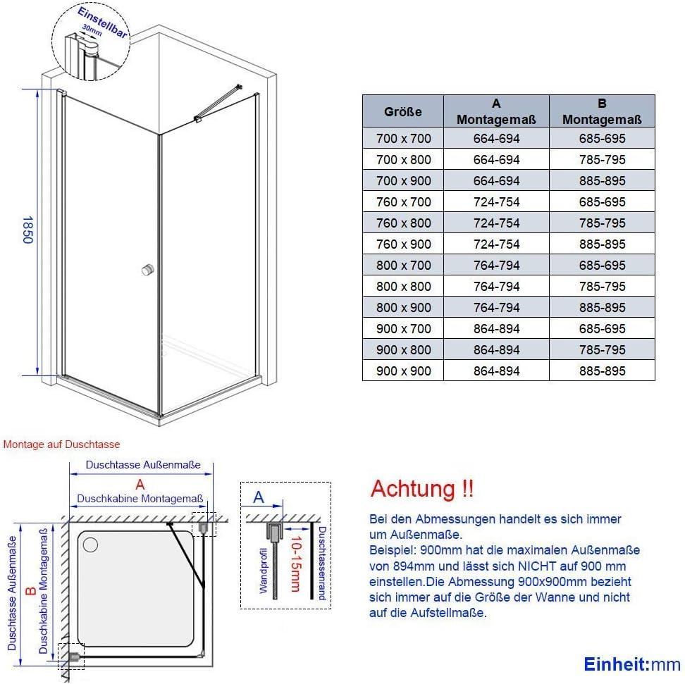 Duschwand 6mm ESG Nano Echtglas H/öhe 185cm Meykoe Duschkabine 80x80cm Duschabtrennung Duscht/ür Schwingt/ür mit Seitenwand