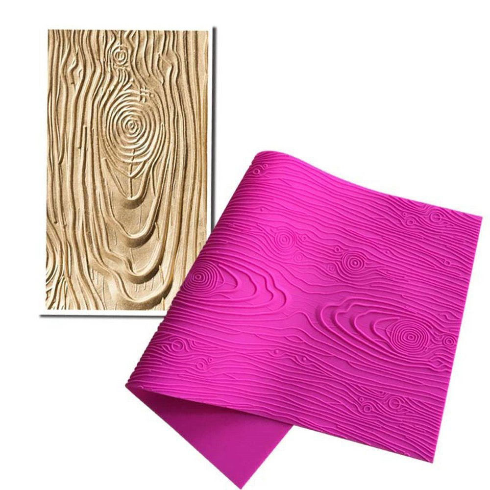 ECOSWAY Woodgrain Fondant Impression Mat Cake Decoration Tools Cake Embossed Decorating Mold Chocolate Sugarcraft Soap Lace Mat Wedding Birthday Party Molds Cake Molds Pastry Baking Tools