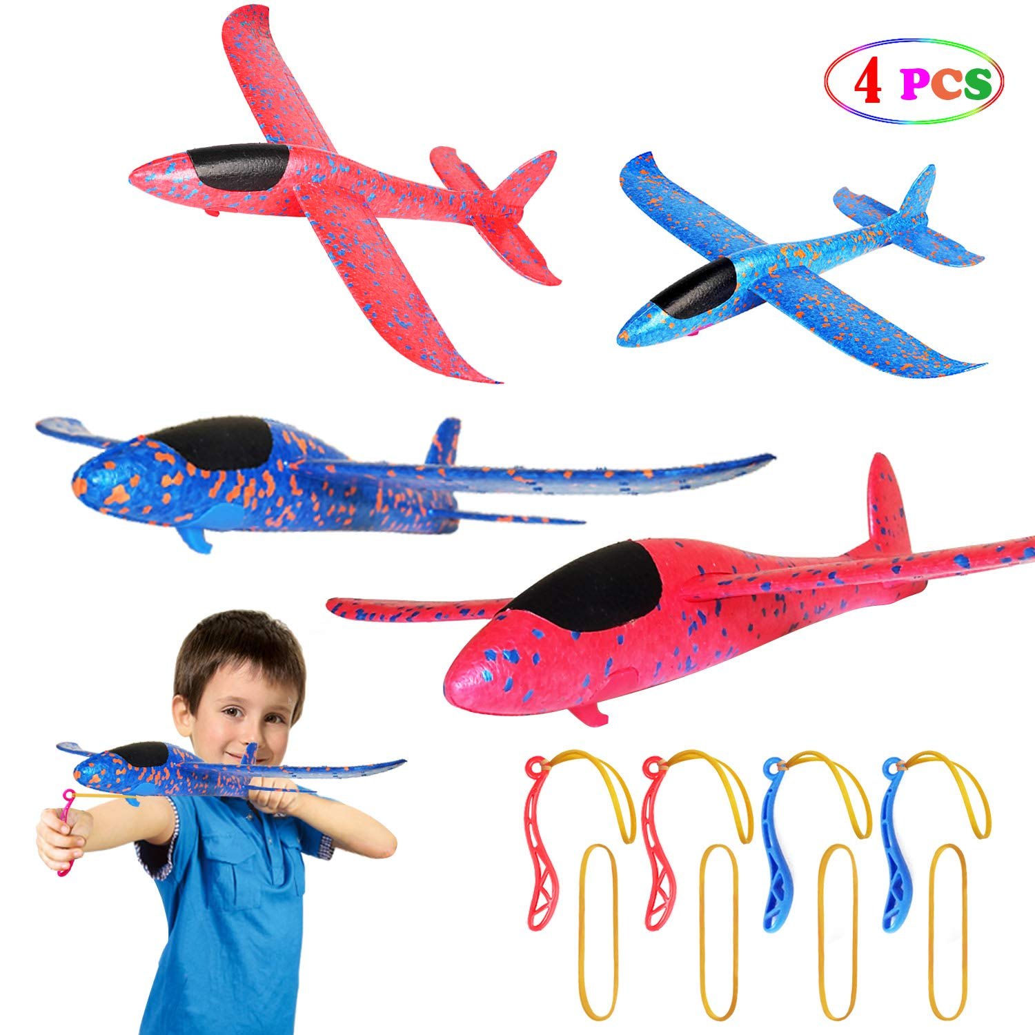 MIMIDOU 4 Pcs Catapult Slingshot Plane 2 Flight Mode Glider Airplane 2 Ways to Play Outdoor Flying Toy for Kids as Gift. by MIMIDOU