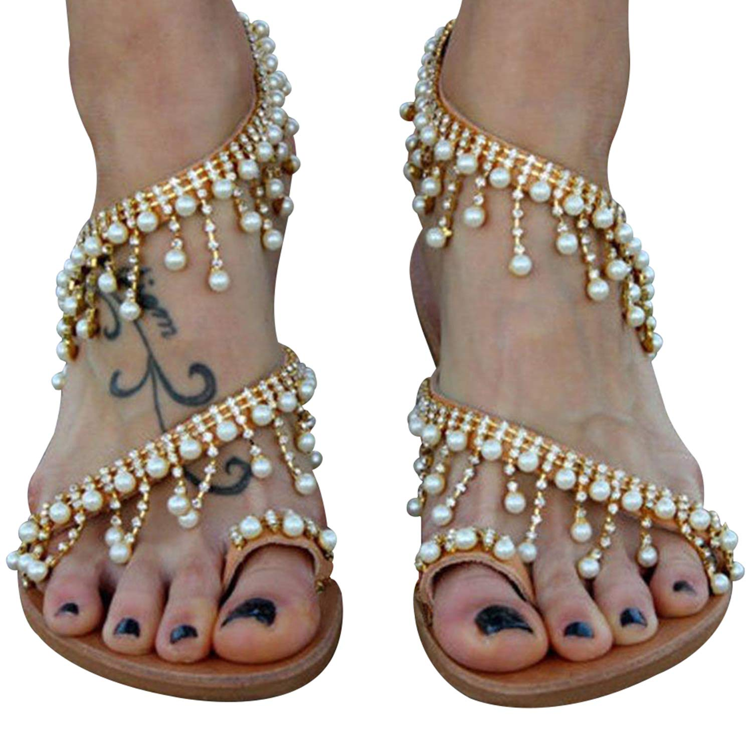 Women's Dangling Pearls Gold Strappy Toe Ring Flat Sandals