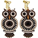 Vintage Animals Bird Night Owl Clip on Earrings Heart Clip for Girls Women Gold Plated Whtie Stone Prom