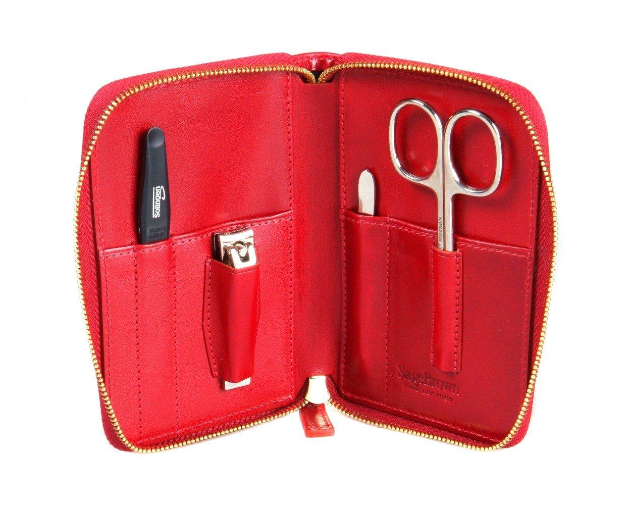 SAGEBROWN Red Zip Around Manicure Set