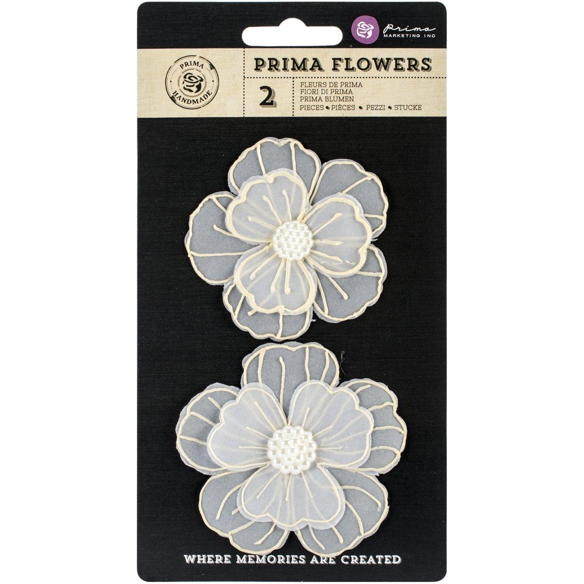 Prima Marketing Evening Sunset Paintable Vellum Flowers, 2.75-Inch, 2-Pack